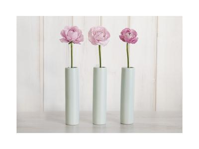Row Of 3 Pink Flowers In Blue Vases