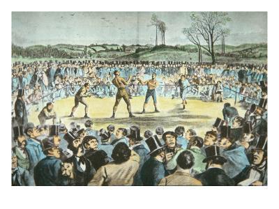 Tom Sayers V. John Heenan at Farnborough, England on 17th April, 1860-English School-Giclee Print