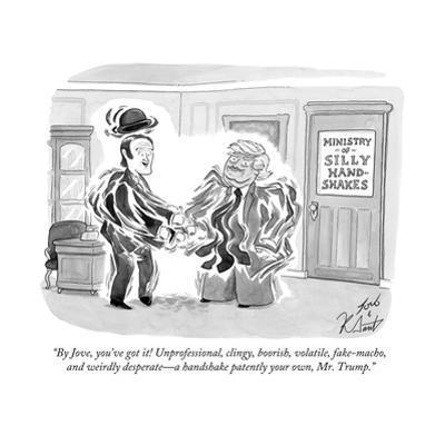 """By Jove, you've got it! Unprofessional, clingy, boorish, volatile, fake-m? - Cartoon by Tom Toro"