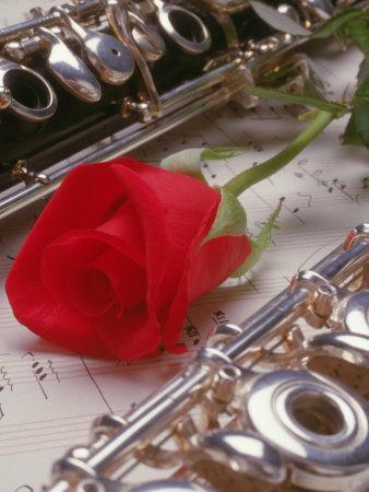 Clarinet and Flute on Sheet Music with Rose