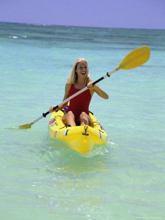 Woman Kayaking at Beach, HI