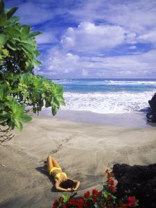 Woman on Beach, Hana Maui, HI by Tomas del Amo