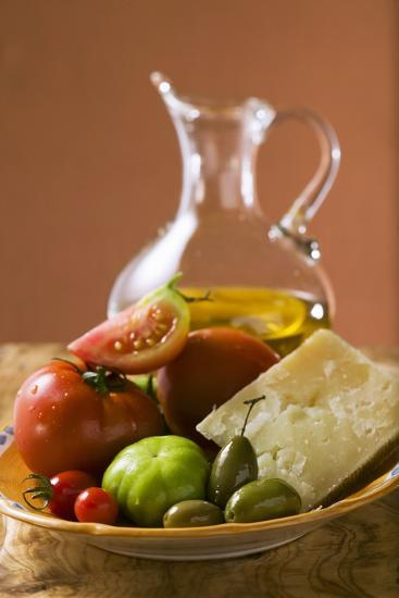 Tomatoes, Green Olives and Parmesan on Plate, Olive Oil-Foodcollection-Photographic Print
