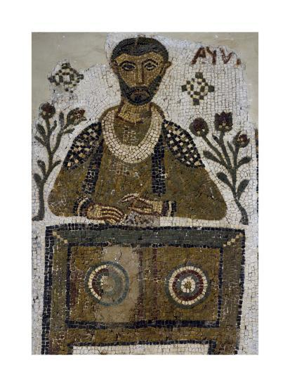 Tomb Mosaic Depicting Scribe, from Tabarka, Tunisia, Early Christian Period, 4th-5th Century--Giclee Print
