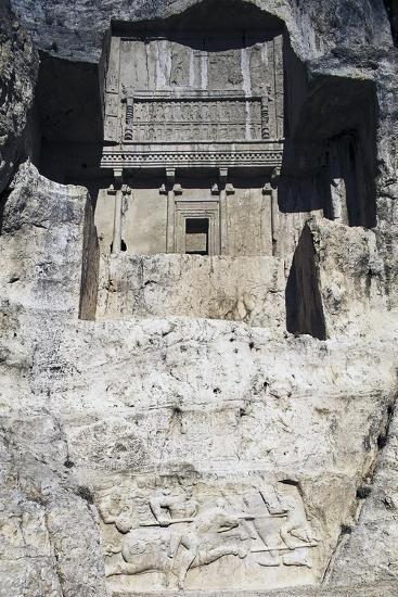 Tomb of Artaxerxes I Above Sasanian Equestrian Relief of Hormizd Ii--Giclee Print