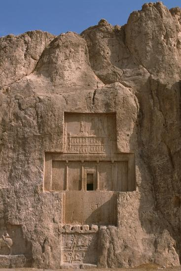 Tomb of Darius I the Great and Equestrian Victory of Bahram II--Photographic Print