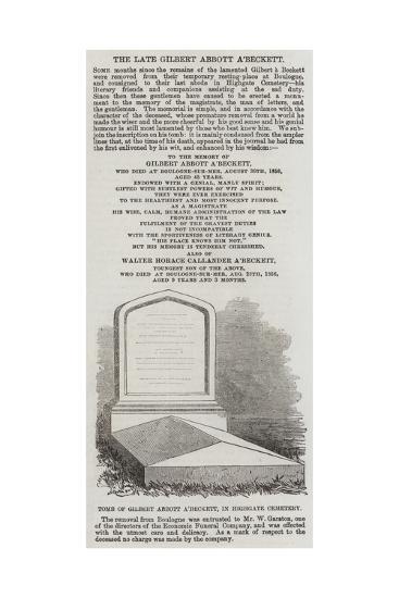 Tomb of Gilbert Abbott A'Beckett, in Highgate Cemetery--Giclee Print