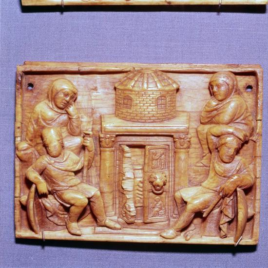 Tomb of Jesus on Easter Morning, Wood Panel, Byzantine casket, 5th century-Unknown-Giclee Print