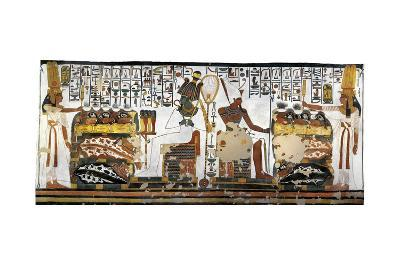 Tomb of Nefertari, Annex to Antechamber, Mural Paintings, Queen Offering before Osiris and Atum--Giclee Print