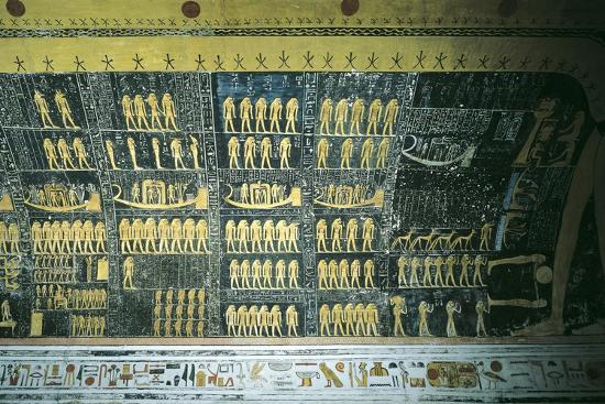 Tomb of Ramses VI, Painted Ceiling Illustrating Book of the Day and Book of the Night Cosmology--Giclee Print