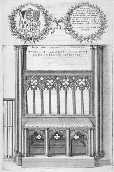 Tomb of Roger Niger, Bishop of London, in Old St Paul's Cathedral, 1656-Wenceslaus Hollar-Giclee Print