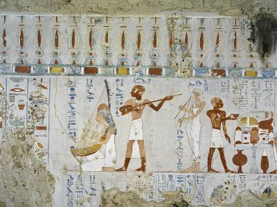 Tomb of Scribe and Granary Accountant at Amon's Estate Amenemhat, Mural Paintings of Musicians--Giclee Print