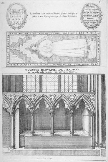 Tomb of Sir Ralph De Hengham in Old St Paul's Cathedral, City of London, 1656-Wenceslaus Hollar-Giclee Print