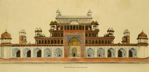 Tomb of the Emperor Akbar at Sikandra, Near Agra, Crawing in Line and Wash. Delhi, India, c.1816