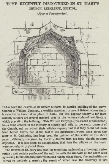 Tomb Recently Discovered in St Mary's Church, Redcliffe, Bristol--Giclee Print