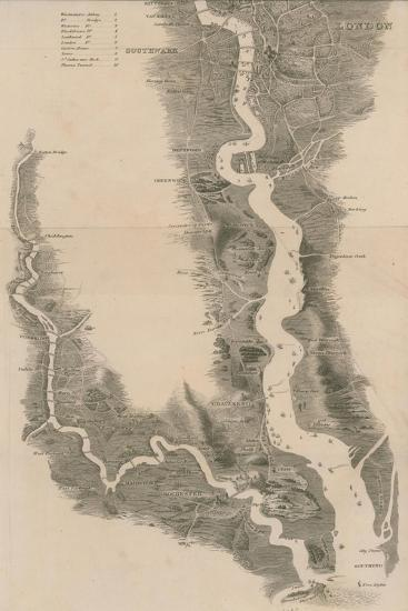 Tombleson's Panoramic Map of the Thames and Medway--Giclee Print