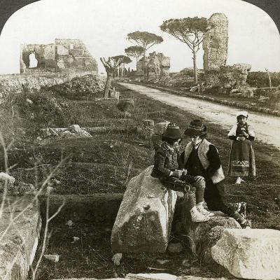 Tombs and Children in Traditional Dress, Appian Way, Rome, Italy-Underwood & Underwood-Photographic Print