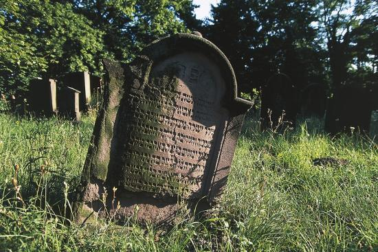 Tombstone in Jewish Cemetery (Judenfriedhof) of Worms--Photographic Print