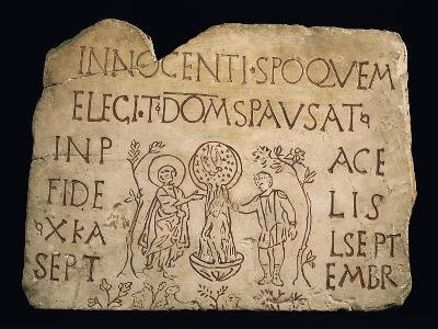 Tombstone with Inscription and the Baptism of Christ, Early Christian Period, 3rd Century--Giclee Print