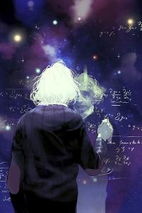 Albert Einstein Writing a Mathematical Formula by Tomer Hanuka