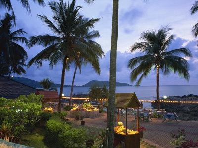 Beach Restaurant at Dusk, Patong, Phuket, Thailand, Southeast Asia