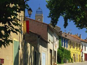 Colourful Houses and Church, Puyloubier, Near Aix-En-Provence, Bouches-Du-Rhone, Provence, France by Tomlinson Ruth