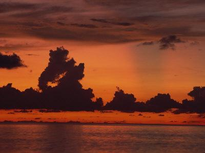 Tropical Sunset Off Seven Mile Beach, Cayman Islands, West Indies, Central America