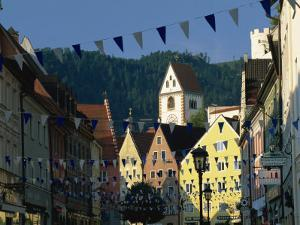 View Along the Reichenstrasse to the Monastery of St. Mang, Fussen, Bavaria, Germany, Europe by Tomlinson Ruth