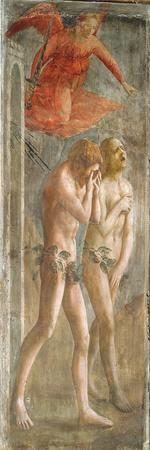 Adam and Eve Banished from Paradise, C.1427 (Fresco) (Pre-Restoration) (See also 200134 and 30029)