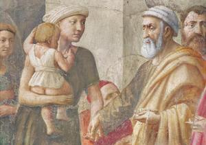 Detail of St Peter and the Woman and Child, from St. Peter and St. Paul Distributing Alms, C.1426… by Tommaso Masaccio