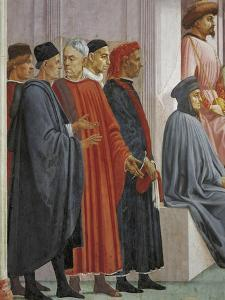 Men in Medieval Dress, Detail from the Raising of the Son of Theophilus by Tommaso Masaccio