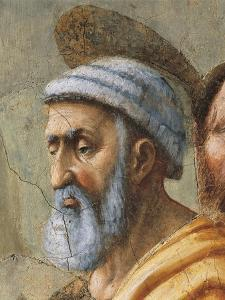 Saint Peter's Face, Detail from the Distribution of Alms and the Death of Ananias by Tommaso Masaccio
