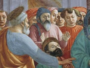 Saints and Crowd, Detail from the Raising of the Son of Theophilus by Tommaso Masaccio