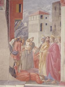 The Distribution of Alms and Death of Ananias by Tommaso Masaccio