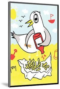 Seagull and Chips - Tommy Human Cartoon Print by Tommy Human