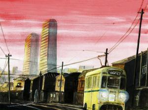 Tram in sunset ,201 by Tomoko FURUYA