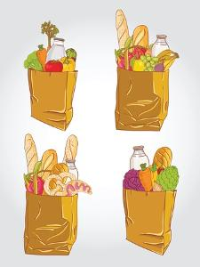 Paper Bag With Food Bread And Fruits, Vegetable by tomuato