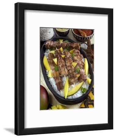 Madagascan Food, Mosakiki, Zebu Skewers with Mango and Rice, Madagascar, Africa