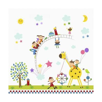 Happy Children in Amusement Park