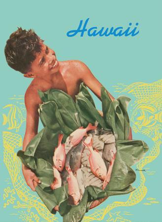 Hawaii - Hawaiian Boy with Fish in Ti Leaves
