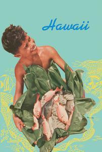 Hawaii - Hawaiian Boy with Fish in Ti Leaves by Toni Frissell
