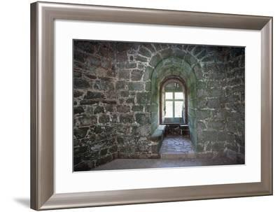 Tonquedec Castle, Room Interior with Stone Benches and Window--Framed Giclee Print