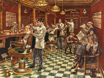 Tonsorial Parlor-Lee Dubin-Giclee Print