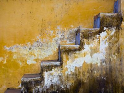 Steps with Peeling Yellow Paint
