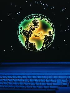 Earth Over Computer Keyboard by Tony Craddock