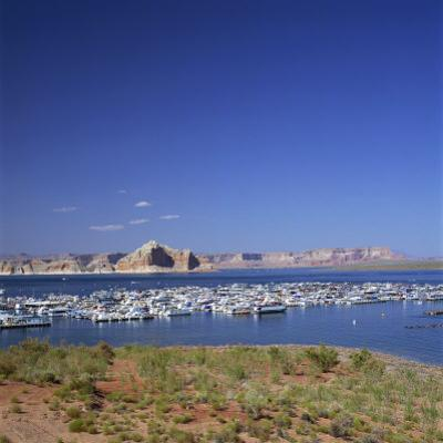 Boats for Recreation Moored on Lake Powell, at Page in Arizona, USA