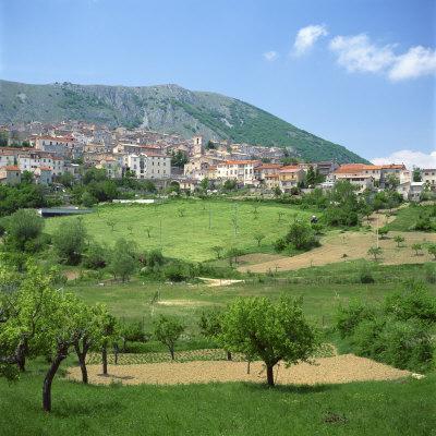 Fields Below the Town of Ortona Dei Marsi in Abruzzo, Italy, Europe