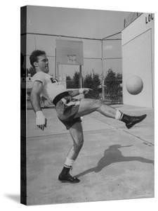 Boxer Marcel Cerdan, Trying to Achieve Hairline Balance by Bouncing a Soccer Ball by Tony Linck