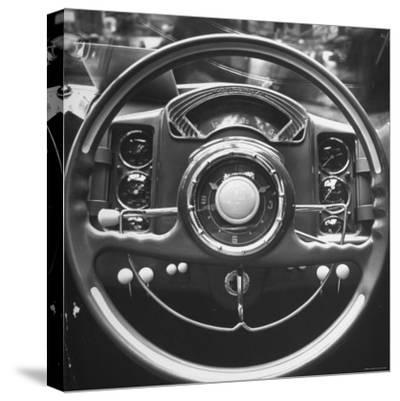 Interior Steering Panel and Steering Wheel of Italian Isotta Fraschini Being Shown at the Auto Show