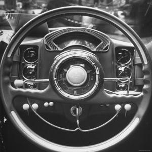 Interior Steering Panel and Steering Wheel of Italian Isotta Fraschini Being Shown at the Auto Show by Tony Linck